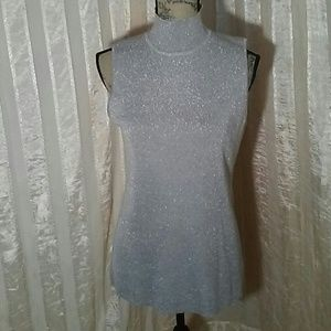 Chico's Women's Silver Glitter Sweater